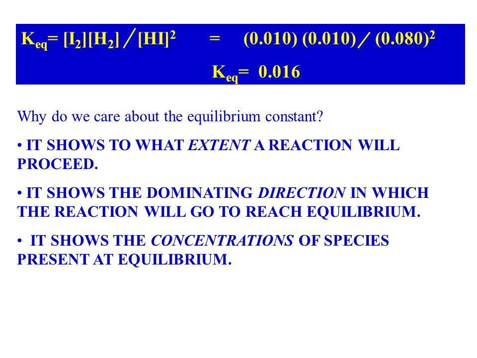 Keq= [I2][H2] [HI]2 = (0.010) (0.010) (0.080)2 Keq= 0.016
